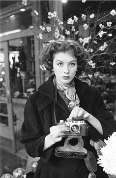 Suzy Parker on the other side of the camera, 1953.