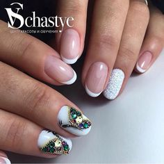 Butterfly nail art, Evening dress nails, Evening nails, Festive nails, French nails with rhinestones, Nails ideas 2017, Nails with stones, Oval nails