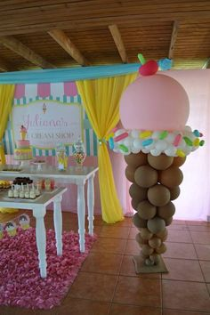Ice Cream Shop Birthday – Birthday Party Ideas for Kids and Adults Ice Cream Shop Birthday balloon decor Candy Theme Birthday Party, Birthday Balloons, First Birthday Parties, Birthday Party Decorations, Birthday Ideas, Candy Party Themes, Candy Land Party, Girls Birthday Party Themes, Birthday Outfits