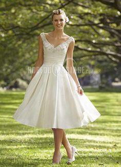 Applique robe de mariée pas cher bretelle fine satin robe sur mesure [#ROBE207732] - robedumariage.com