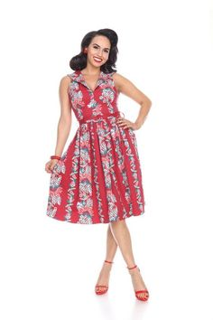 ff1a48c11628 Bettie Page Tiki Oasis Out to Brunch South Pacific Red Tropic Career Swing  Dress