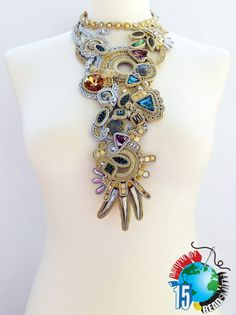 Soutache necklace. Statement soutache jewelry. di Soutachebypanka