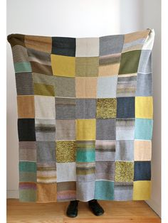 Manta de Quadrados | Knitted Squares Blanket www.mariamelia.com