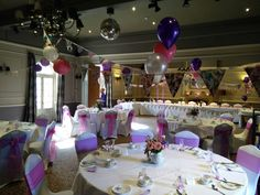 Pinks and purples at The Manor Hotel Yeovil wedding reception.