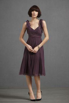 Chocolate Chiffon Knee-Length A-Line Bridesmaid Dress