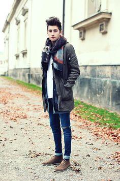 Parka By Zara, Cardigan By Cheap Monday, Jeans By Cheap Monday, Scarf By Zara, Shoes By Zara