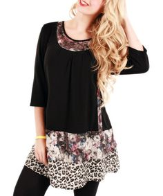 Look what I found on #zulily! Black & Rose Leopard Tunic by Aster #zulilyfinds