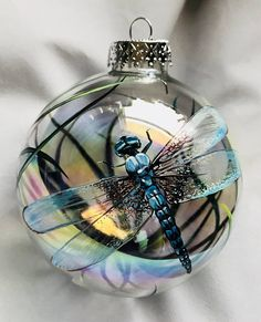 Dragonfly Iridescent Globe Hand Painted Gazing Ball Spring Christmas Ornament Spirit Animal Unique G Dragonfly Art, Dragonfly Jewelry, Dragonfly Quotes, Dragonfly Painting, Beaded Dragonfly, Dragonfly Tattoo, Special Birthday Gifts, Deco Floral, Christmas Baubles