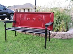 Tailgate Bench from a 1970 Step-side Ford pickup my hubby made :)