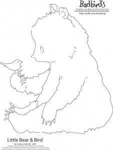 Little bear & bird embroidery pattern.  Badbird has such fun patterns at her blog.