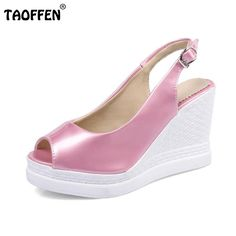 667b4a4cf81b6 TAOFFEN Female Wedges Sandals Peep Toe Platform Summer Shoes Women Solid  Sweet Daily Slip On Sample