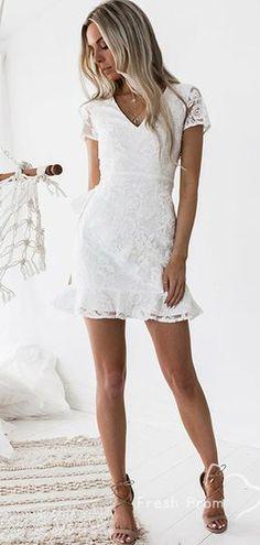 Sheath V-neck Short Sleeves Short White Lace Homecoming Cocktail Dress Cheap Hoco Dresses, Dresses Short, Tight Dresses, Fall Dresses, Sexy Dresses, Summer Dresses, Short Dresses With Sleeves, Short Tight Homecoming Dresses, Formal Dresses