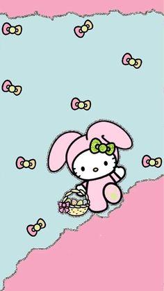 iPhone Wallpaper- Easter tjn Hello Kitty Iphone Wallpaper, Hello Kitty Backgrounds, Pretty Phone Wallpaper, Spring Wallpaper, Easter Pictures, Holiday Pictures, Sanrio Hello Kitty, Ostern Wallpaper, Religious Wallpaper
