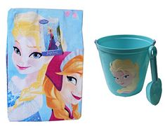 Disneys Frozen Anna  Elsa Swim Time Fun Beach Towel Shovel and Sand Pail Gift Basket ** Continue to the product at the image link.
