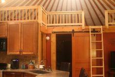Yurt loft above rooms and a sliding barn style door! Living Off The Land, Tiny Living, Yurt Interior, Interior Design, Yurt Loft, Pacific Yurts, Silo House, Yurt House, Yurt Living