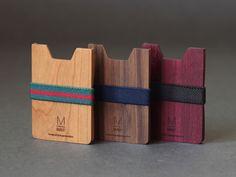 Unique wooden wallet for mens gift. Minimalist wallet