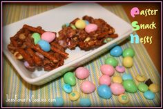 Easter Snack Nests, made with pretzels & rice krispies, chocolate and peanut butter, filled with Easter candy.