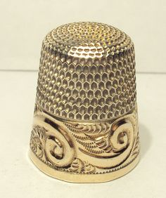 1880's Sterling Silver Simons Thimble with Gold Feather Scroll Band Engraved EAP | eBay
