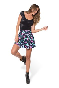 Rawrrr Skater Skirt (WW ONLY 48HR $50AUD) by Black Milk Clothing