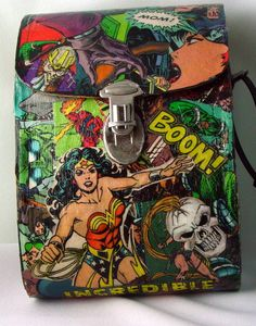 Comic book handbag. Found a cute vintage binocular bag and decoupage selected comics with Mod Podge.