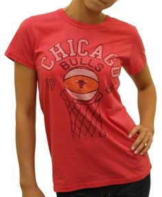 Women's Chicago Bulls Shirt by Junk Food  This officially licensed Women's NBA shirt by Junk Food features a Chicago Bulls basketball going through the hoop along with the year the team was established.    Fabric Details        Color: Licorice      50% cotton / 50% polyester    Our Price: $25.95