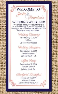 CUSTOM Wedding Party Agendas by elbeecreative on Etsy, $15.00 ...