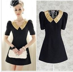 Free shipping women Short-Sleeve Beaded dress, New Promotion career dress fashion 2013 color black Price    US $ 21.97