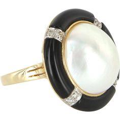 Vintage Mabe Pearl Onyx Diamond Cocktail Ring 14 Karat Gold Estate Fine Jewelry 7