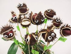 This looks so cool - insert the sticks before they open, watch and wait and then put the eyes on once the conkers are revealed! More pictures in the link Craft Projects For Kids, Fun Crafts For Kids, Diy For Kids, Diy And Crafts, Arts And Crafts, Halloween Crafts, Halloween Decorations, Christmas Crafts, Autumn Crafts