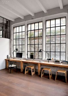 Industrial steel frame #windows for a modern #workspace design