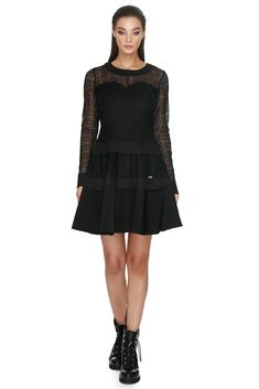 The intricate spider web pattern lace overlay gives this sophisticated full sleeve Vero Milano A-line lace dress a richly textured finishing touch. Web Patterns, Lace Overlay, No Frills, Ruffles, Spider, Lace Dress, Spring Summer, Autumn, Touch