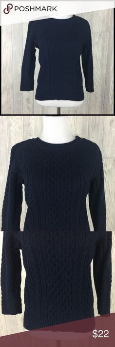 Tommy Hilfiger Small Navy Blue Cable Knit Sweater Tommy Hilfiger Cable Knit Sweater - Navy Blue Women's Size Small  Gently used - no stains or tears 100% Cotton  Medium weight cable knit / rib knit combo 3/4 sleeves Gold toned button closure on left shoulder Crew neck Flag logo near hem  Measurements (in inches): Chest (armpit to armpit) - 19 Sleeve (wrist to shoulder seam) - 17.5 Length (back of neck to bottom hem) - 21 Tommy Hilfiger Sweaters Crew & Scoop Necks