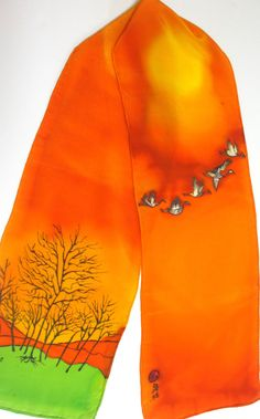 100 HandPainted Authentic Silk Scarf Use by AuthenticSilkStory, $75.00