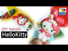 Hello Kitty in a My Melody Costume polymer clay tutorial Polymer Clay Animals, Polymer Clay Charms, Polymer Clay Jewelry, Dyi Crafts, Clay Crafts, Hello Kitty, Clay Videos, Clay Figurine, Clay Miniatures