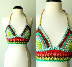 festival season is about to begin! Stripy crochet bra top.