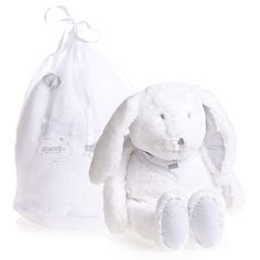 <div>Absorba white plush bunny rabbit soft toy with grey stripe trims and neckerchief. This sweet and cuddly bunny comes presented in a lovely branded storage bag.</div> <ul> <li>Machine wash at 30*C</li> <li>Size: 35cm</li> <li>Suitable for both boys and girls</li> </ul>