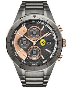 Scuderia Ferrari Men's Chronograph RedRev Evo Gunmetal Ion-Plated Stainless Steel Bracelet Watch 46mm 0830304
