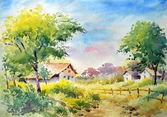 ArtEWorld by Sanika Dhanorkar: Watercolour Painting: A Landscape sketch Watercolor Scenery, Watercolor Paintings Nature, Beautiful Landscape Paintings, Watercolor Art Landscape, Landscape Sketch, Landscape Drawings, Landscape Art, Sketch Painting, Watercolor Illustration