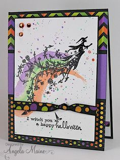 Stamps: memory box sentiment, Inkadinkado witch Paper: Black and purple cs, doodlebug design inc dps, watercolor paper Paper Size: A2 Ink...