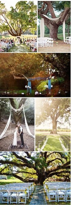 I would love to get married outdoors under a huge tree. Beautiful. #DBBridalStyle