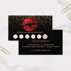#Loyalty #Punch #Businesscards - #Red Glitter Lips Loyalty Cards on Black