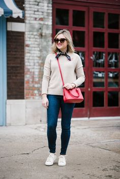 Camel Sweater + Red Crossbody | Bows & Sequins