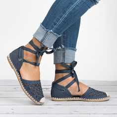 Upgrade your shoe collection with these super cute Espadrille Flats. Featuring round toe, fabric upper, stitching details, adjustable self-tie, d'orsay style and jute-capped toe. Finished with ankle-wrapped lace up. These looks great with distressed jeans and comfy boyfriend tee for a casual look Colors: Black Beige Denim Pink