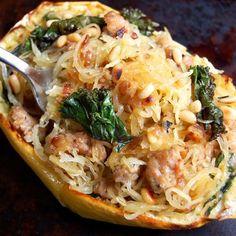 Sausage, Kale, and Spaghetti Squash Boats