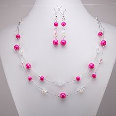 Bright Pink Necklace and Earring Set  Double by DeederTheBeader, $21.00