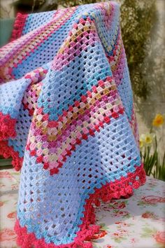 Handmade Granny Square Crochet Blanket 'Elsie May' . Great as a picnic blanket , for a campervan, as a photo prop or gift. on Etsy, $89.66