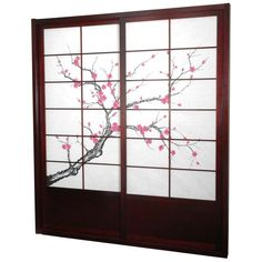 Oriental Furniture Cherry Blossom Shoji Sliding Door Kit Rosewood - DOOR-CBLSS-ROSEWOOD