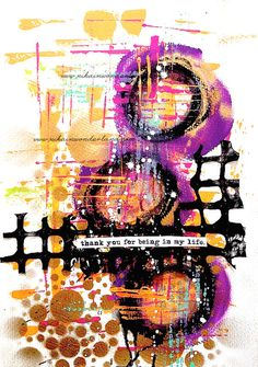 Original Art - Mixed Media Gold Circles - Dylusions paint tutorial