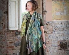 Silk Scarf unique  unusual  art scarf wearable art