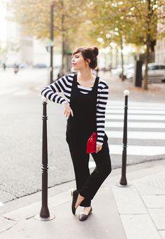 Black pinafore with stripes :: WishWishWish